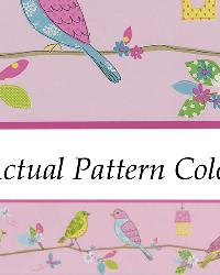 Social Birdie Border Pink Quilted Birds Border by