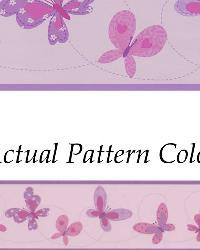 Flutter-By Border Purple Butterflies Border by