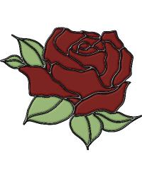 Rose Stained Glass Applique by