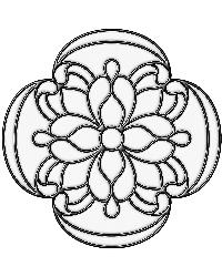 Victorian Medallion Clear Stained Glass Applique by