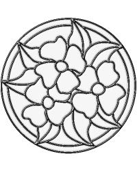 Pandy Medallion Clear Stained Glass Applique by
