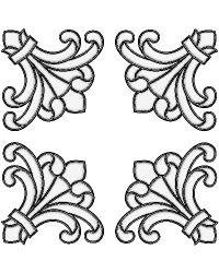 Medici Corners Clear Stained Glass Applique by