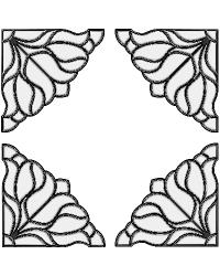 Bouquet Corners Clear Stained Glass Applique by