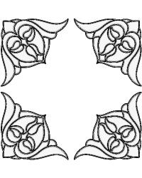 Nouveau Corners Clear Stained Glass Applique by