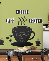 Coffee Cup Chalkboard Peel  Stick Wall Decals RMK1314GM by