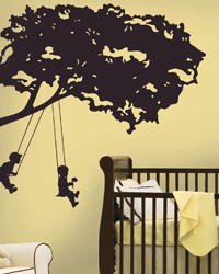 Kids on Swing Peel  Stick Giant Wall Decal RMK1654GM by