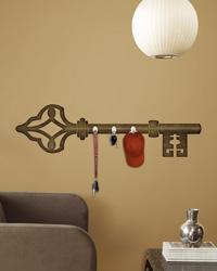 Antique Key Peel  Stick Wall Decal w/Hooks RMK1779SCS by