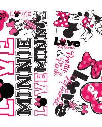 Mickey  Friends - Minnie Loves Pink Peel  Stick Wall Decals by