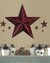 Barn Star Peel  Stick Giant Wal Decal - Burgundy RMK2197GM by