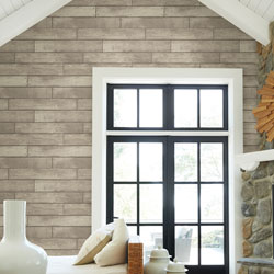 Fake stone and wood wallpaper for walls.