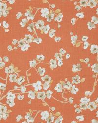 Orange Oriental Fabric  Sweet Dreams Coral