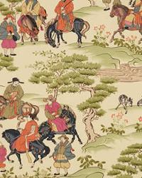 Beige Oriental Fabric  Manchuria Tangerine