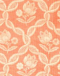 Orange French Country Toile Fabric  Tulipa Coral