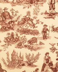 Cavalier Toile Red On Ecru by