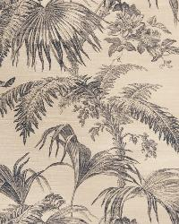 Beige French Country Toile Fabric  Palm Garden Sisal Navy On Dove