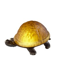 Amber Turtle Art Glass Accent Lamp Antique Brass by