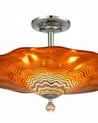 Titan Hand Blown Art Glass Semi Flush Mount Polished Chrome by