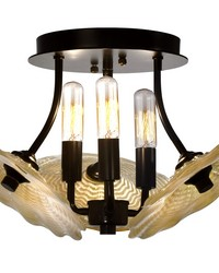 Beige Feather 3-Light Art Glass Semi Flush Mount Tiffany Bronze by