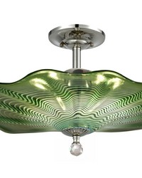 Waterfront Hand Blown Art Glass Semi Flush Mount Polished Chrome by