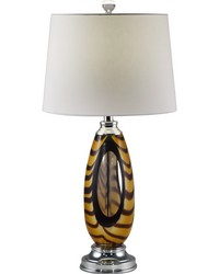 Bengal Tiger Art Glass Table Lamp Polished Chrome by
