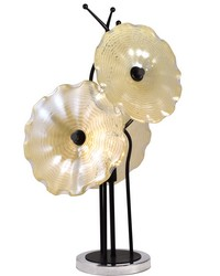 Beige Feather Hand Blown Art Glass Table Lamp Dark Bronze Chrome by