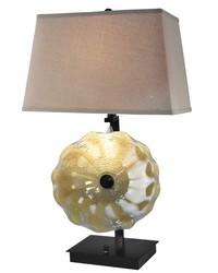 Beige Feather Hand Blown Art Glass Table Lamp Dark Bronze by