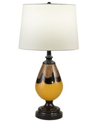 Keithia Hand Blown Art Glass Table Lamp Ebony Black by