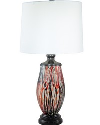 Halen Painted Crystal Table Lamp Ebony Black by