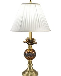 Rose Bloom Mosaic Art Glass Table Lamp  Antique Brass by