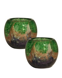 Mardi Gras Art Glass Candle Holder 2-Piece Set by