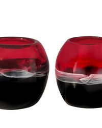 Sandlewood Art Glass Candle Holder 2-Piece Set by