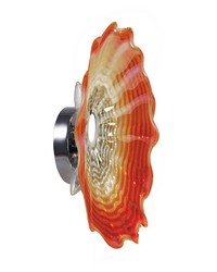 Titan Orange 20in Art Glass Wall Light Fixture Polished Chrome by