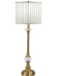 Tavon 24 Lead Hand Cut Crystal Buffet Table Lamp Antique Brass by