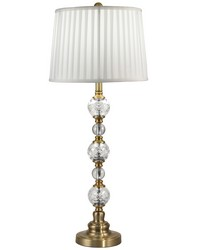 Aquila 24 Lead Hand Cut Crystal Buffet Table Lamp Antique Brass by