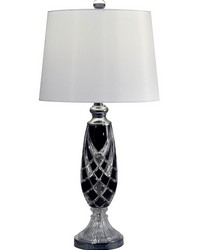 Black Shield 24 Lead Hand Cut Crystal Table Lamp Polished Chrome by