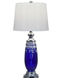 Blue Marble 24 Lead Hand Cut Crystal Table Lamp Polished Chrome by