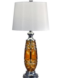 Glossy Amber 24 Lead Hand Cut Crystal Table Lamp Polished Chrome by