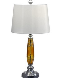 Autumn Lake 24 Lead Hand Cut Crystal Table Lamp Polished Chrome by