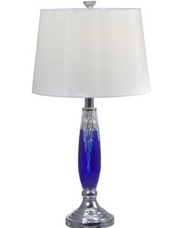 Blue Glacier 24 Lead Hand Cut Crystal Table Lamp Polished Chrome by