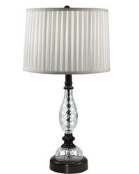 Acacia 24 Lead Hand Cut Crystal Table Lamp Ebony Black by