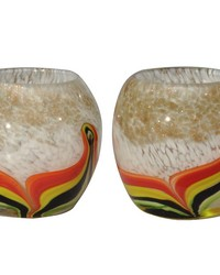 Crown Point Art Glass Candle Holder 2-Piece Set by