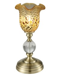 Beige Speckle Art Glass Accent Lamp Antique Brass by