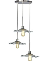 Almond 3-Light Art Glass Pendant Satin Nickel by
