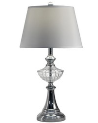 Avery 24 Lead Hand Cut Crystal Table Lamp Polished Chrome by