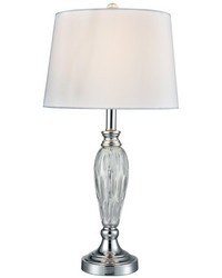 Vella 24 Lead Hand Cut Crystal Table Lamp Polished Chrome by