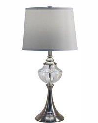 Harper 24 Lead Hand Cut Crystal Table Lamp Brushed Nickel by