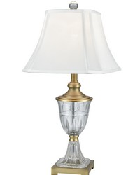 Walker 24 Lead Hand Cut Crystal Table Lamp Golden Antique Brass by