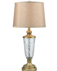 Cathedral 24 Lead Hand Cut Crystal Table Lamp Golden Antique Brass by
