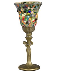 Montreal Mosaic Art Glass Accent Lamp Antique Gold by