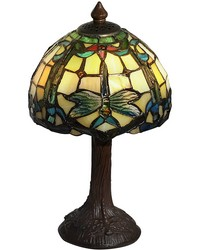 Poshe Dragonfly Tiffany Accent Lamp Antique Bronze by